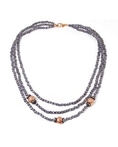 Triple strand smoky quartz bead necklace