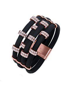Black Neoprene Bracelet with Rose Stations