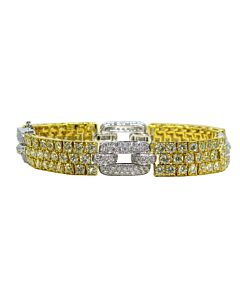 White Diamond and Yellow Diamond Pave Link Bracelet