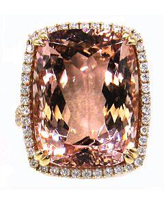 Rose Gold Large Morganite & Diamond Ring