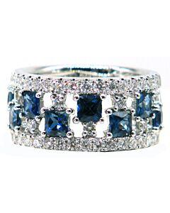 Wide Diamond & Sapphire Band