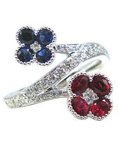 Ruby Sapphire &  Diamond Bypass Ring