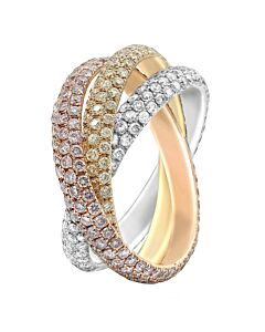 Tri-Color Pave Diamond Eternity Ring