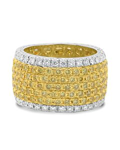 Wide 18K Yellow and White Diamond Band