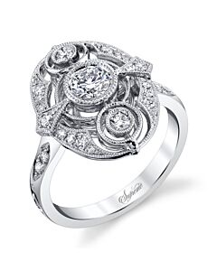 18k Gold Victorian Style Diamond Ring