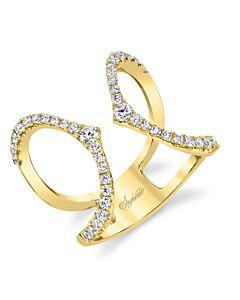 14k Gold Diamond Cuff Ring