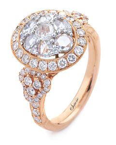 Rose Gold Cognac Diamond and  Diamond Ring