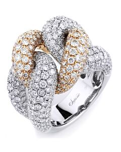 Two Tone Double Pave Knot Diamond Ring