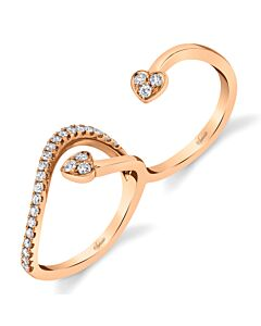 Two Finger Rose Gold Diamond Ring
