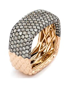 Hefty Rose Gold Cognac Diamond Band