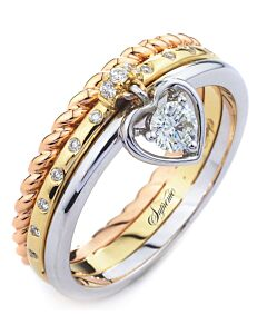 Tri Color Diamond Dangle Ring