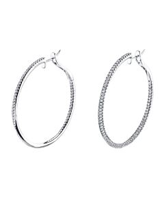 14k In & Out Diamond Hoop Earrings