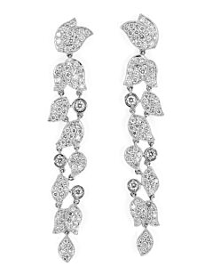 Pave Diamond Leaves Dangling Earrings