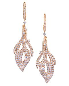 Rose Gold Pave Diamond Dangling Earrings
