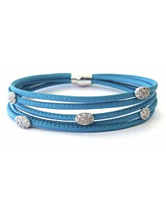 Luca 5 Row Teal Leather Bracelet w/White Sappires