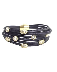 7 Strand Black Leather Bracelet with White Sapphires