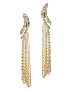 Cascading Pearl and Diamond Earrings