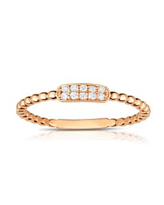 Darling Rose Gold Diamond Ring w/Beaded Shank