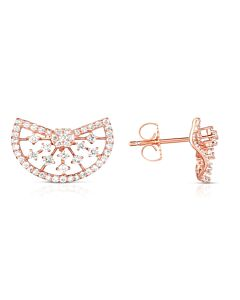 Rose Gold Lacy Half Moon Earrings