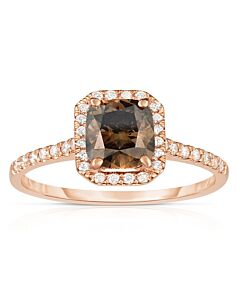 Rose Gold Cognac Cushion Diamond Ring