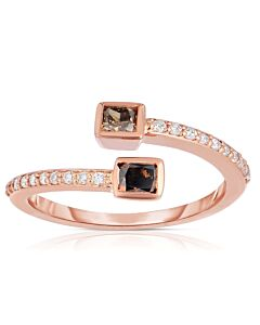 Cognac Diamond Bypass Ring in Rose Gold