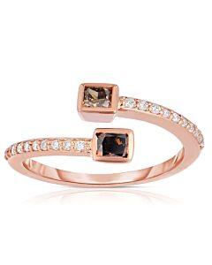 Cognac Diamond Bypass Ring in Rose Gold