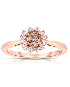 Feminine Oval Cognac Diamond Ring