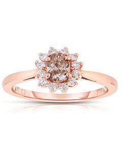 Feminine Oval Cognac Diamond Ring