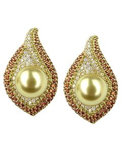 "Golden South Sea Pearl ""Flame"" Earrings"