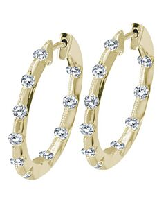 Tension Set Diamond Hoop Earrings