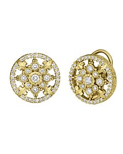 Yellow Gold Round Cascata Diamond Earrings