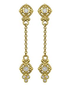Diamond Two Station Chain Drop Earrings