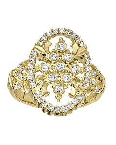 Diamond Oval Cascata Medallion Ring