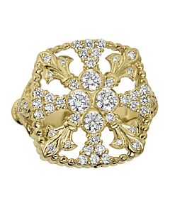 One Carat Fleur De Lis Medallion Ring
