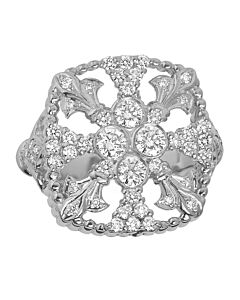 White Gold One Carat Fleur De Lis Medallion Ring