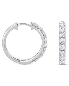 One Carat White Gold Diamond Hoop Earrings