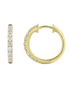One Carat Yellow Gold Diamond Hoop Earrings
