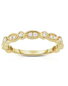 Yellow Gold Alternating Shapes Diamond Ring