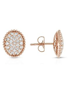 Rose Gold Pave Diamond Oval Earrings