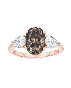 Cognac Diamond Ring Flanked by Diamond Pears