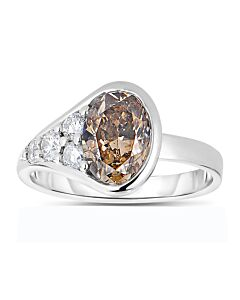 Asymmetrical Cognac Diamond Ring