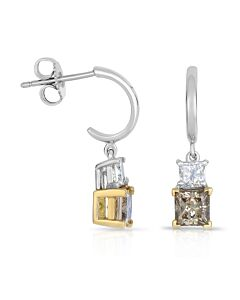 14k White & Cognac Diamond Earrings