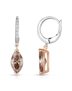 Two Tone Cognac Diamond Earrings
