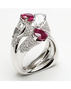 Sculpted Burmese Ruby and Diamond Ring