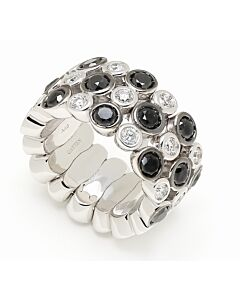 Flexible Black and White Diamond Ring