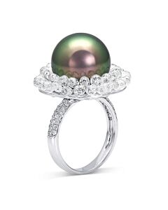 Stunning Tahitian Pearl and Briolette Diamond Ring