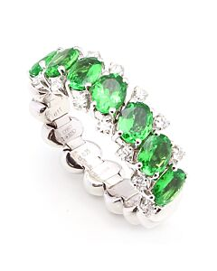 Flexible Tsavorite and Diamond Ring
