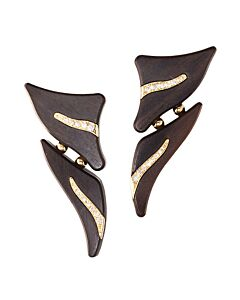 Makassar Ebony Earrings with Diamonds
