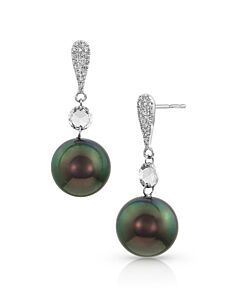 Tahitian Pearl and Rose Cut diamond earrings