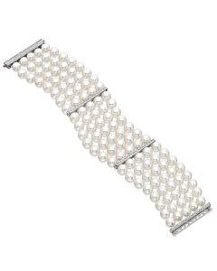 Classic Pearl and Diamond Bracelet
